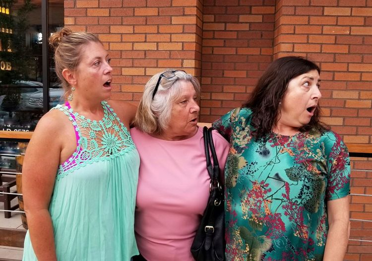 surprise! Funny Faces UniSon Caught Off Guard 3 Women Family Time Human Reactions Surprised Lexington KY this is family Casual Clothes EyeEm Selects Family Shocked Faces Shocked City Togetherness Women Friendship Entertainment Brick Wall Senior Women The Street Photographer - 2018 EyeEm Awards The Photojournalist - 2018 EyeEm Awards The Still Life Photographer - 2018 EyeEm Awards The Troublemakers #urbanana: The Urban Playground