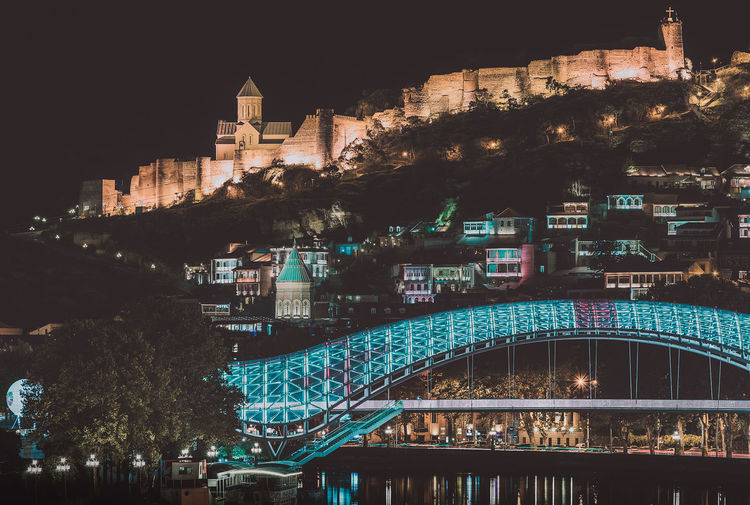 Tbilisi at night Church City Cityscape Mountians Reflection Architecture Bridge Building Exterior Built Structure City Cityscape Clear Sky Illuminated Long Exposure Night No People Old Outdoors River Sky Travel Destinations