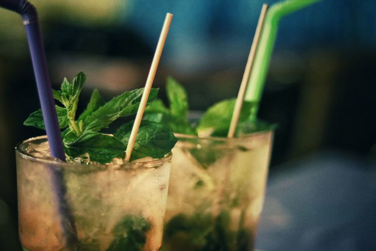 Close-Up Of Mojitos Served On Table