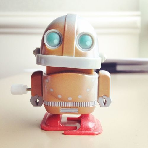 Close-up of robot toy on table