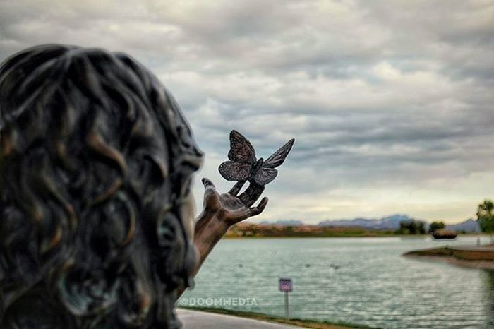 """""""Sometimes the people who act the happiest are the ones who are going through the most"""" - Photography Sunset Girl Butterflies Statue Fountain Hills Fountainhills Fountainhillsaz AZ Sky DoomMedia"""