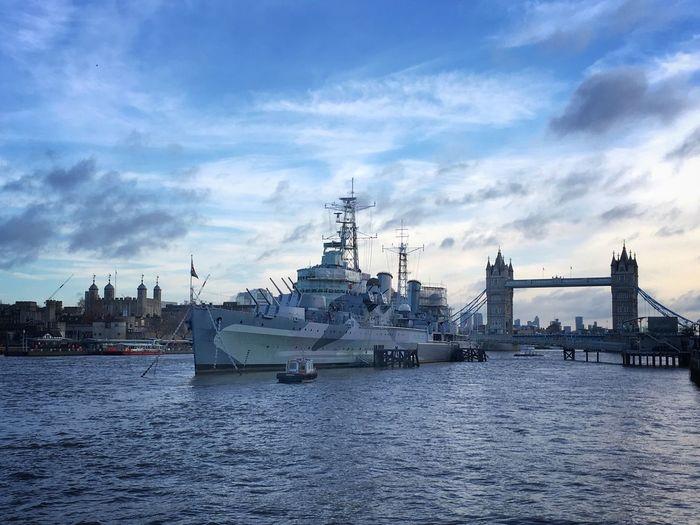 Cold & Bright City Life Cityscape LONDON❤ Tower Bridge  HMS Belfast Transportation Nautical Vessel Architecture Built Structure Ship River