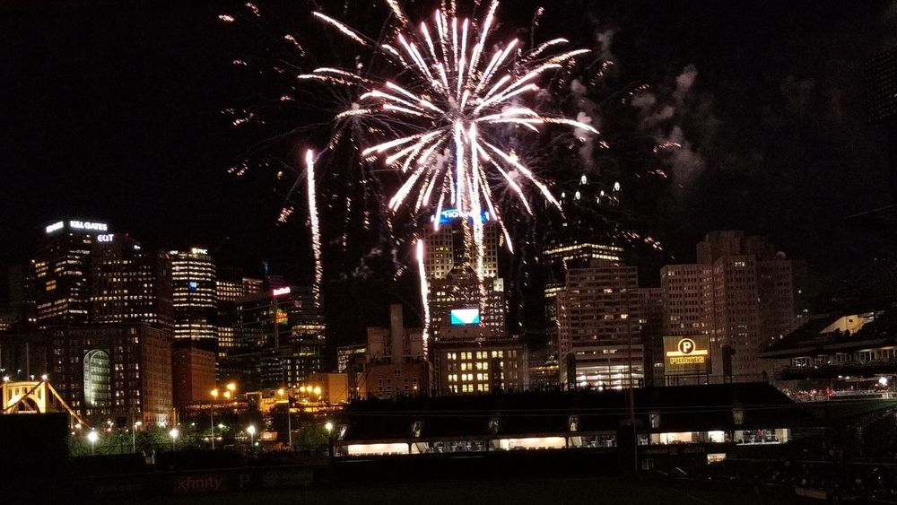 Night Firework Display Celebration Firework - Man Made Object Exploding Arts Culture And Entertainment Illuminated Multi Colored Long Exposure Outdoors Awe Event Cityscape Sky City Skyscraper Motion Large Group Of People Pennsylvania Pittsburgh PNC Park Pittsburgh Pirates Baseball Stadium Spectator Excitement The Week On EyeEm The Graphic City Colour Your Horizn