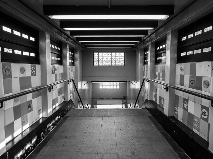 Deserted Station Foot Bridge Illuminated Architecture Built Structure Hand Rail Ceiling Light  Tiled Wall Steps And Staircases Stairs #urbanana: The Urban Playground