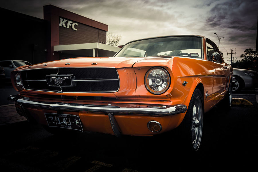 Orange is the New Black Frankston - Melbourne Pony, Ford, Mustang. Orange, Car, Vehicle, Hot Rod Car Cloud - Sky Day Land Vehicle No People Old-fashioned Outdoors Sky Transportation