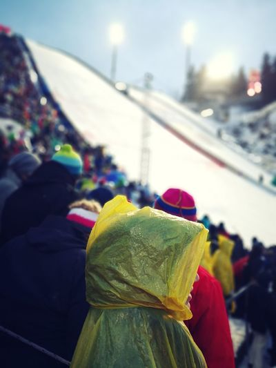 Rainy ski jumping event in Oberstdorf 2017 Vierschanzentournee Oberstdorf & Umgebung Traditional Clothing Rear View Lifestyles Focus On Foreground Real People People Adult