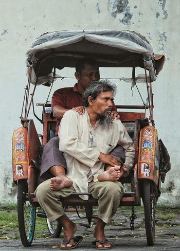 old man in the old BECAK Only Men Transportation Two People Mode Of Transport People Real People Outdoors Togetherness Sitting Human Humaninterest Photography Oldman Humaninterestphotography Streetphoto Streetphotograhy Market Becak Driver Becak The Week On EyeEm Urban Impressions