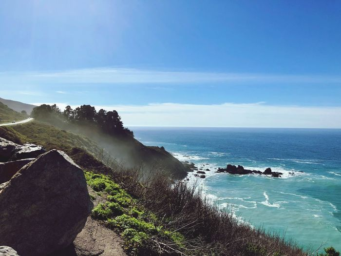 Big Sur Sea Water Sky Beauty In Nature Scenics - Nature Beach Land Horizon Over Water Nature Day Horizon Tranquil Scene Rock Tranquility Sunlight Motion Blue Outdoors No People Breaking