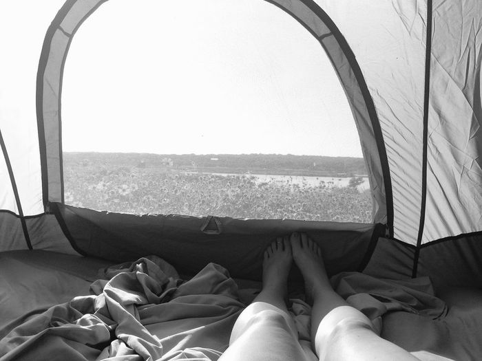 Camping Looking Out Nature Woman Black And White Comfortable Day Feet Human Leg Inside Tent Legs Monochrome Nature One Person Peaceful Person In Nature Personal Perspective Relaxation Rewilding Sunlight Window