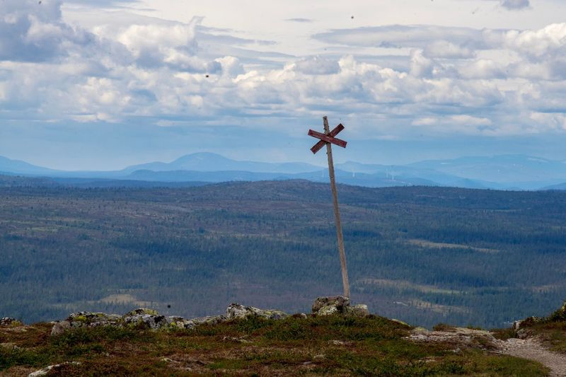 Trail marker on the hill Trailmarker Hiking Trail Outdoor Life Summer Scandinavia Sweden Hiking Sky Mountain Environment Nature Scenics - Nature Cloud - Sky Beauty In Nature Landscape No People Mountain Range Environmental Conservation Tranquility Non-urban Scene