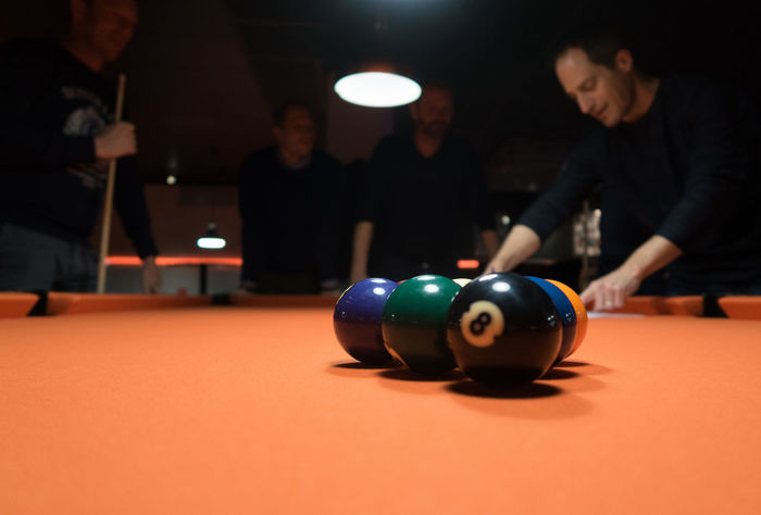 Billiards Close-up Competition Illuminated Indoors  Men Night Nineball Orange Color People Playing Pool - Cue Sport Pool Ball Pool Cue Pool Table Real People Snooker
