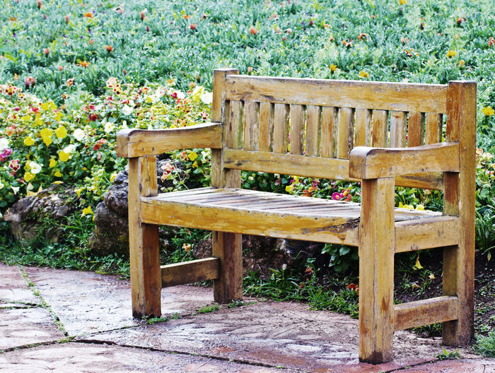 Empty bench on wooden table in park