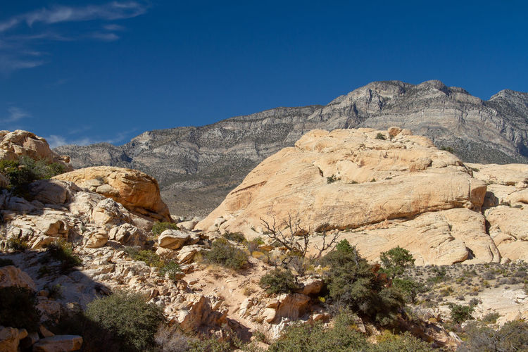 Scenic view of rocky mountains against sky. red rock canyon, nevada