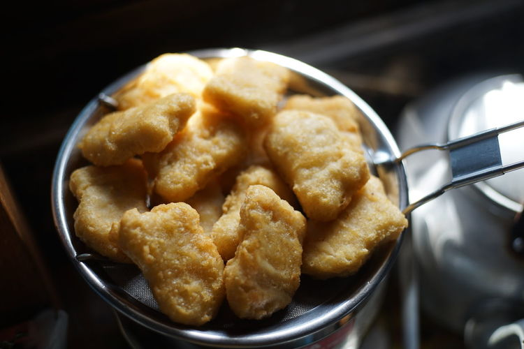 Food Food And Drink Kitchen Utensil Indoors  Ready-to-eat Close-up Freshness Still Life Fried No People High Angle View Unhealthy Eating Deep Fried  Cooking Pan Snack Nugget
