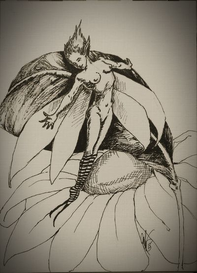 Ink SketchTrying to hide amongst the foliage. Drawing Fantasy Art Fae Faeries  Faery Dwelling Pixie