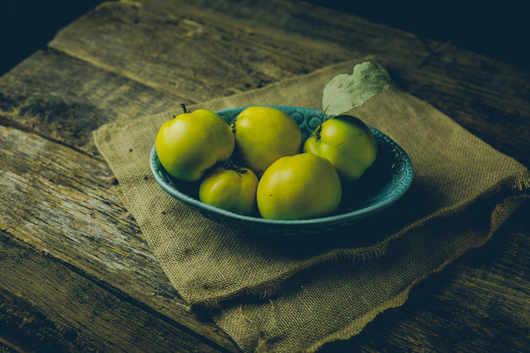 Bowl Close-up Day Food Food And Drink Freshness Fruit Healthy Eating High Angle View Indoors  Jute No People Still Life Table Textile Wood - Material