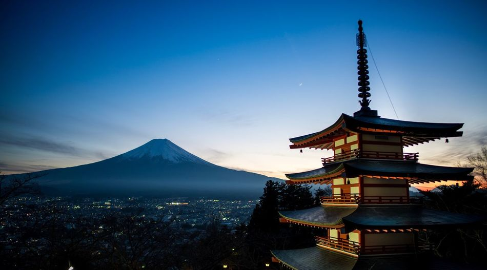 Religion Mountain Travel Destinations Travel Blue Day Outdoors Place Of Worship Scenics Sky Architecture Beauty In Nature No People Chureito-pagoda Mt Fuji Japan Twilight