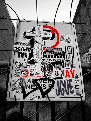 Oakland, California. Black & White Red Splash Daytime Photography Bllack And White Photography Oakland, Ca. Urban Art Graffiti Street Art/Graffiti Streetphotography Communication Text Sign