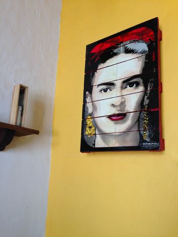 Architecture Built Structure Cafe Wall Day Drawing - Art Product Frida Kahlo Frida Khalo Friday Indoors  Khalo No People Portrait Woman Yellow