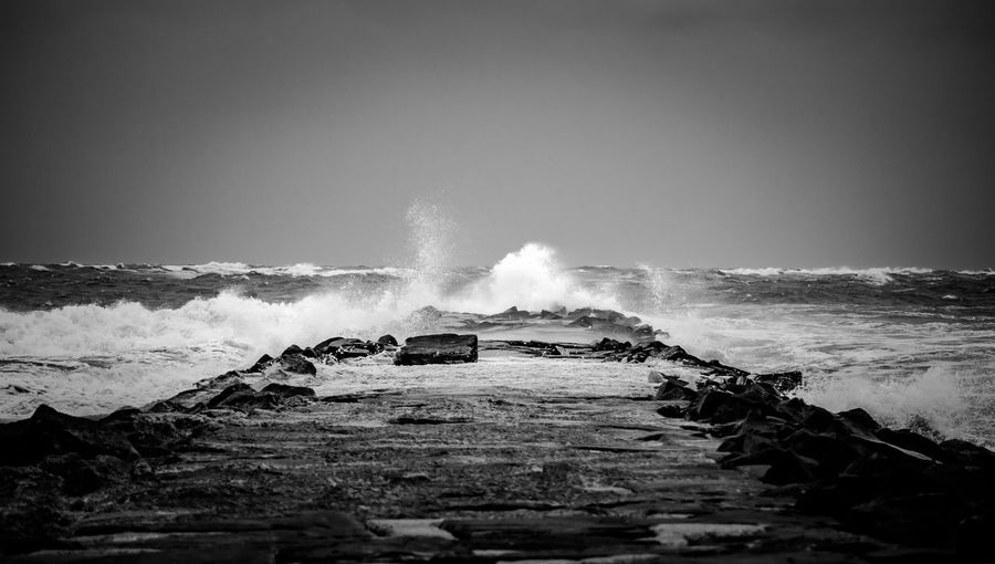 The Jetty - Hurricane Hermine - September 2016 Beauty In Nature Brigantine Je Clear Sky Day Force Horizon Over Water Motion Nature No People Outdoors Power In Nature Sea Sky The Thejetty Water Wave