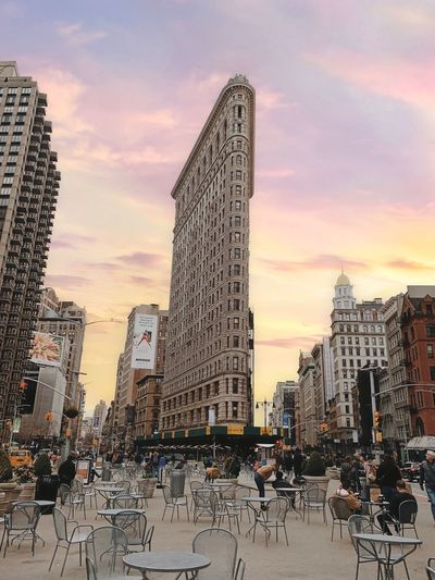 Flatiron Building Newyorkcity Architecture Building Exterior Built Structure Sky City Cloud - Sky My Best Photo Nature Incidental People Sunset Large Group Of People Tall - High Building Crowd Land Vehicle Travel Destinations Travel Street Transportation Outdoors Office Building Exterior