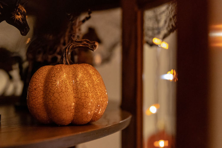 Close-up of pumpkin with illuminated lights