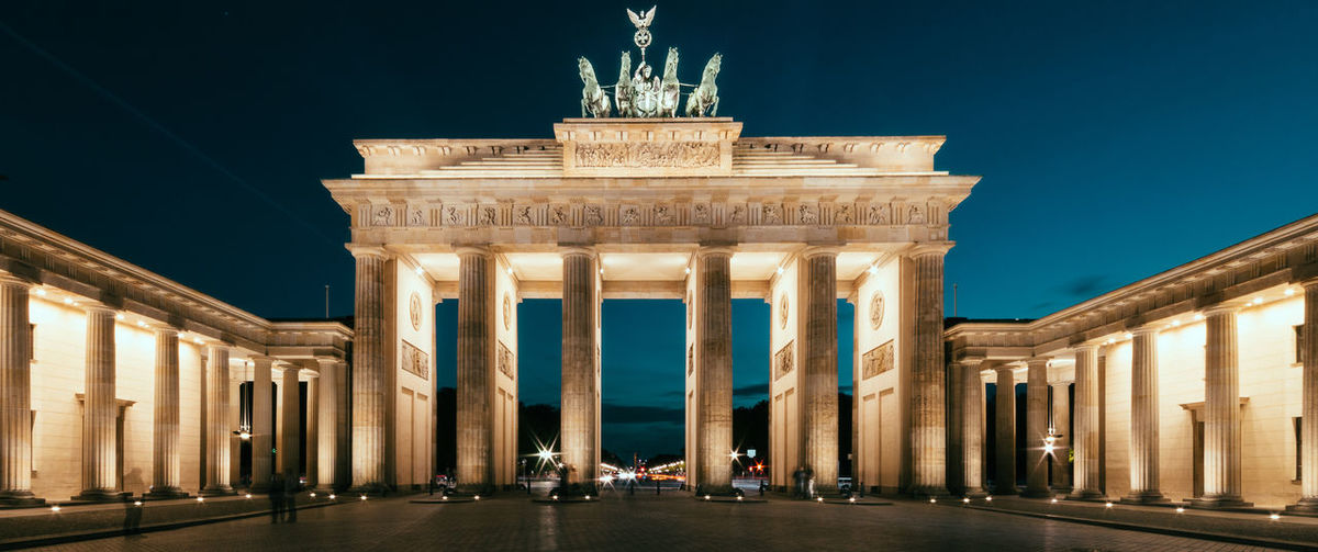 Architectural Feature Architecture Berlin Brandenburg Gate Building Exterior Built Structure City City Life Colonnade History International Landmark Long Exposure Monument Outdoors Panorama Tourism Travel Travel Destinations