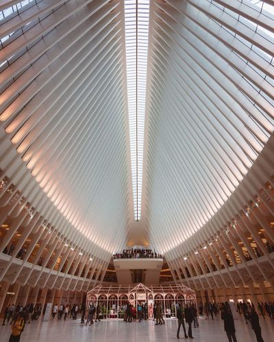 Wide Angle Shot of the Oculus NYC New York City New York New York ❤ Oculus Architecture Architectural Design Ceiling Architectural Feature Architecture And Art Symmetry Backgrounds Architectural Detail Roof Beam Interior Arched Ceiling Light  17.62°