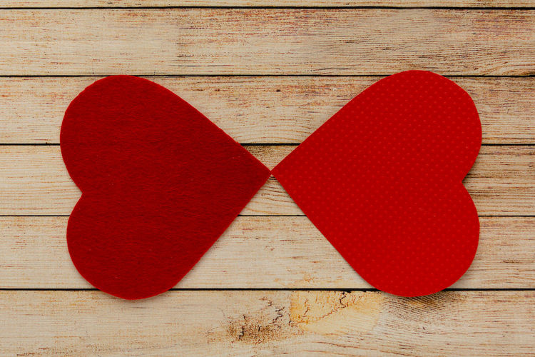 Directly above shot of heart shape on table
