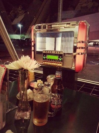 Jukebox on the table :-) Dinner Vintage Sunset Boulevard Los Angeles, California