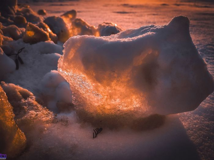 Close-up of frozen sea during sunset