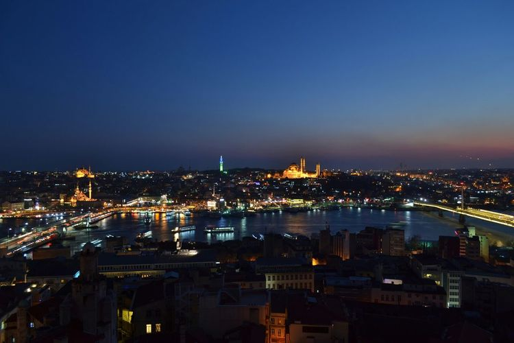 Istanbul by night from the Galata Tower Istanbul Turkey Sunset Golden Hour Nightphotography Night Traveling Travel Photography Taking Photos Check This Out