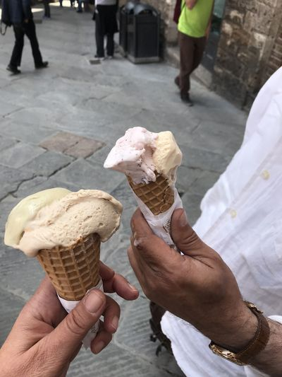 Cropped image of hand holding ice cream