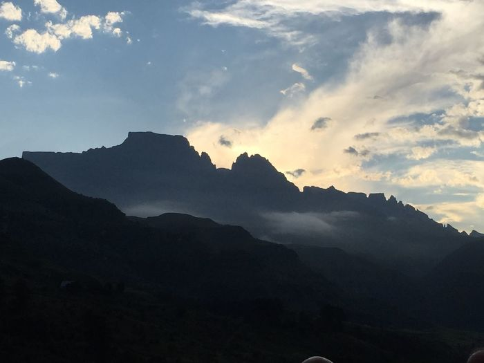 Champagne Castle Mountain Drakensberg, South Africa CastleMountain Sunset Mountain Nature Beauty In Nature Sky Tranquility Silhouette No People