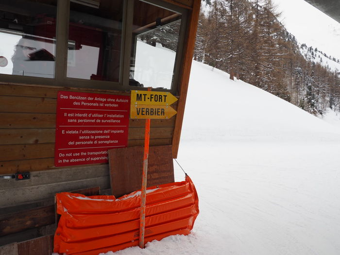 Information Information Sign Mt Fort Nature No People Outdoors Ski Resort  Snow Text Verbier Wood - Material
