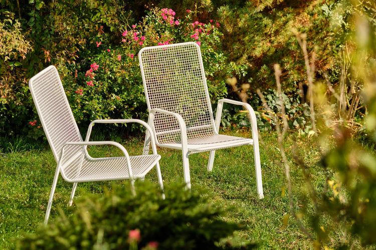 Empty chairs in garden