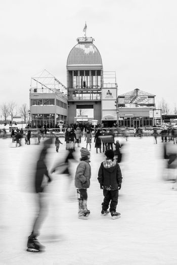 Blackandwhite Blurred Motion Group Of People Lifestyles Montréal Skating Snow Vieux Port Winter Winter Activities
