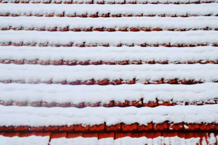 Winter Symmetry Roof Rooftop House Background Pattern Red Tiles Red Color White Color Snow Tiles Roof