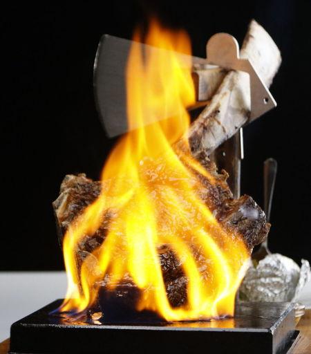 in flame Steak Flames Tomahawk Steak