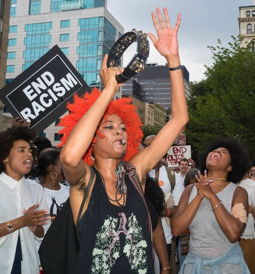 Resist Young Women Arms Raised Day People Black Lives Matter Blm Protest Peaceful Rally Excitement Togetherness Crowd ICP Outdoors NYC Street Photography Documentary Photography Olympus Pen-f Union Square Park CIRCLE Of LIFE Color Portrait The Photojournalist - 2017 EyeEm Awards