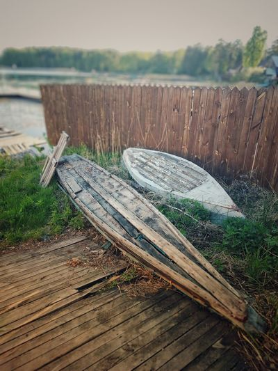 Old boats Old Boats Wood Boats Lake Wood Fence Wood - Material Close-up Grass Calm Tree Ring