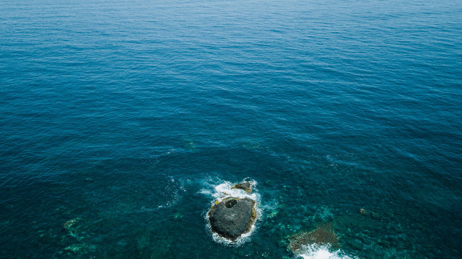 High angle view of a nature pool in sea