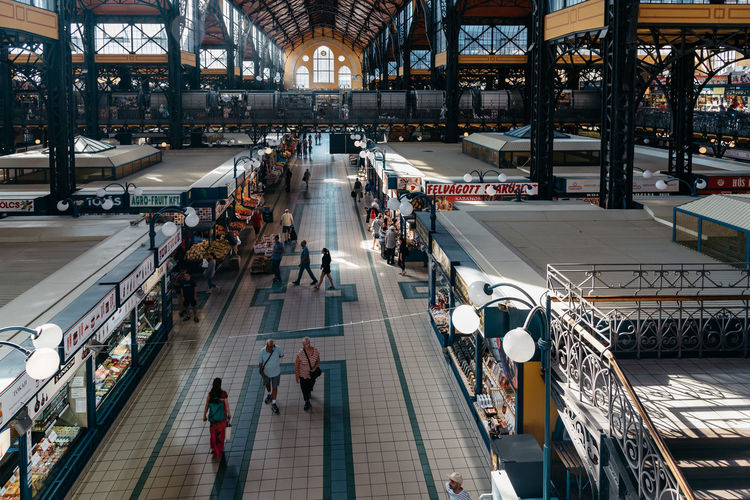 Interior view of Central Market Hall of Budapest Architecture Budapest Central Market Hall Cityscape European  Hungary Market Travel Architecture Building Built Structure Capital Cities  Central Market cityscapes Day Europe Food Market Hungarian Interior Large Group Of People Men People Real People Travel Destinations Women