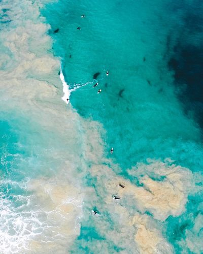 Surf Surfing Surfer Water Nature Aerial View Turquoise Colored Blue Day Land Sea High Angle View Outdoors Abstract Tranquility Beauty In Nature Environment Beach Scenics - Nature