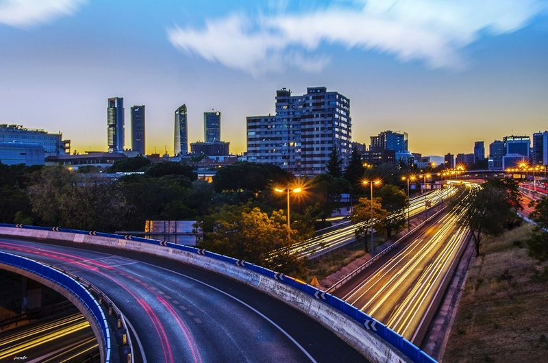 Long Exposure Traffic Night Illuminated Madrid ❤ Madridgrafias Madrid,spain Madrid Taking Photos