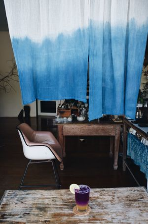 Indigo day Curtain Blue Drinking Cocktails Drink Indigo Dyeing Indigo Dye Cotton Cloth Indigo Dye Indigo Blue Still Life Home Interior