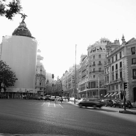 City Street Madrid Granvia Streetphotography Streetphoto_bw