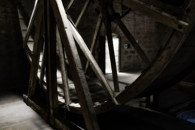 Ambient Light Ancient Architecture Architecture Built Structure Close-up Day Girder Indoors  Malines No People Tredmill Wood - Material Wood Structure