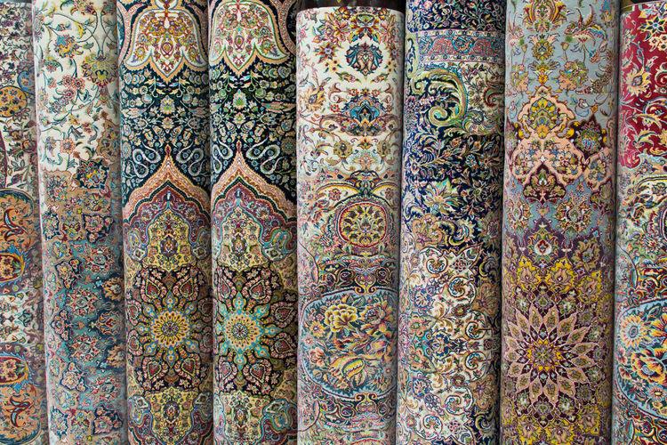 Full frame shot of persian rugs at store