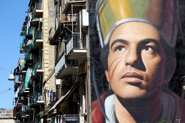 street art in Napoli Napoli Street Blue Sky Murales Art Palace San Gennaro Street Photography